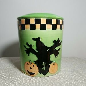 Green Halloween Scarecrow, Pumpkins & Moon Lidded Canister Candy Cookie Ceramic
