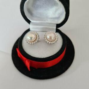 Freshwater Pearl & Diamond stud earrings in Sterling silver