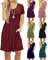 Women's Short Sleeve Cotton Pleated Loose Swing Summer Casual Dress with Pockets