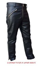 MENS MOTORCYCLE BIKERS REAL BLACK LEATHER PANTS JEANS TROUSERS