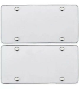 2 UNBREAKABLE CLEAR FLAT LICENSE PLATE MOUNT HOLDER FRAME BUMPER SHIELD COVER