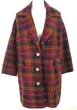 A New Day Jacket Sz X /14W 16W  Burgundy Plaid Check Tweed Long Blazer Coat NWOT