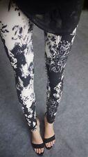 NEW Floral Pattern Black White Flowers Funky Printed Leggings Trousers Pants HOT