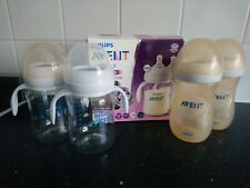 Philips AVENT Natural box of 2 wide neck bottles with handles + 2x used extra