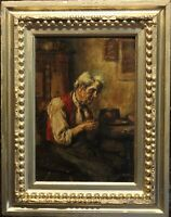 19 century Antique original Oil Painting Listed Artist Friedrich Pondel (1830-?