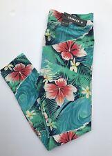 Womens Tropical Hawaiian Leggings Hibiscus S L XL Blue Green Coral Chances R New