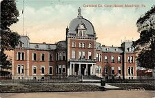 Pennsylvania PA postcard Meadville, Crawford County Court House ca 1909