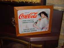 COKE COLA CUSTOM CEDAR FRAMED VINTAGE RETRO TIN DRINKING LADY BAR SIGN