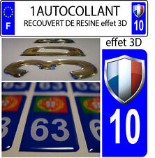 1 sticker plaque immatriculation auto DOMING 3D RESINE FAGNON FRANCE DEPA 10