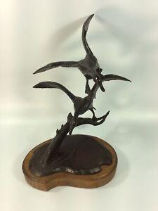 "DIANE PIERCE Pintail Ducks Birds Iron Sculpture 10"" X 7"" 3/44"