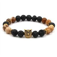 High Quality 8MM Natural Stone Lava Gold Owl Head Charm Men's Handmade Bracelets