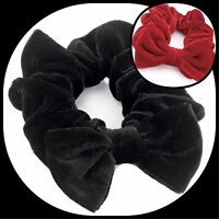 VELVET HAIR SCRUNCHIE GIRL/WOMEN LARGE BOW ELASTIC SCRUNCHY HAIRBAND SCHOOL BAND