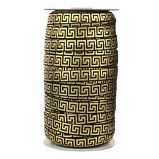 100 Yard Spool - Fold Over Elastic - Black With Gold Metallic Maze - 5/8in Wide