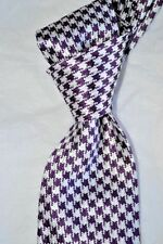 """$250 NWT TOM FORD Purple w/ white houndstooth check 3.4"""" woven silk tie ITALY"""