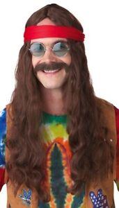 Hippie Man Brown Groovy 70s Men Costume Wig & Moustache