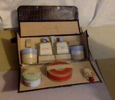 Vintage Coty Skin Care & Powder Set. Snake Skin Carry Case