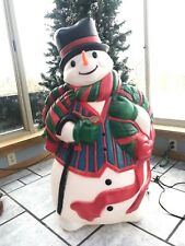 """Vintage Christmas 43"""" Snowman with Wreath and Cane Lighted Blow Mold Yard Decor"""