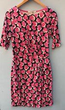 Boden Dress 6 Petite Sheath Pink White Navy Blue Small Jersey Floral Career