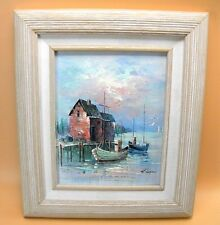 A. Simpson Boats in Harbor Scene Painting on Wood Panel (HS)