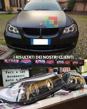 BMW SERIE 3 E90 E91 2005-2011 FARI ANTERIORI ANGEL EYES NEON BIANCHI FANALI NERI