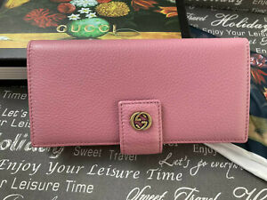 Gucci women wallet Light Pink Leather Long Wallet Gold GG made in Italy Auth.