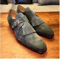 Men's Handmade Gray single Suede Monk Strap & Fringes Men's Dress Shoes all size