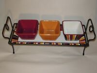 Pampered Chef Simple Additions Hospitality Stand, Stripe Platter & Square Bowls