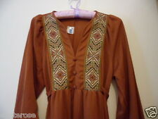 Retro Genuine 1970s Vintage MAXI DRESS  brown back waist tie long sleeve size 12