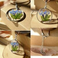 NEW Fashion Blue Dried Flowers Transparent Glass Necklace Pendant Women Jewelry