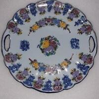 """Vestal Alcobaca Hand Painted Numbered Serving Cake Plate Cutouts Portugal 9 1/2"""""""