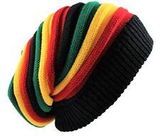 Rasta Beanie Hat Long Slouch Ribbed Multi colour Baggy Marley Reggae Style