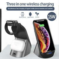 3-in-1 15W Wireless Charger Fast Charging Dock Station for iWatch Apple iPhone