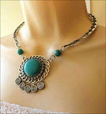 CLEARANCE Tribal Turquoise Stones Silver Tone Cowgirl Choker Necklace Set
