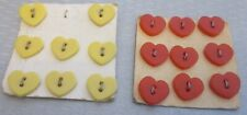 "vtg PLASTIC HEART BUTTONS 2 old cards red & yellow 1/2"" sew-thru 17P"