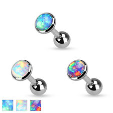 Synth. Opal Ohr Helix Tragus Stecker Piercing 3/4/5 mm Opal Platte Schimmer