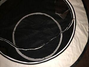 "HobbyZoo 40"" Circular Black/White Portable Foldable Cloth and Mesh Pet Playpen"