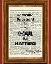 Michael Jackson Quote Dictionary Art Print Book Picture Poster Billie Jean