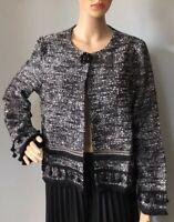 Jaune Rouge Womens Boucle Short Occasion Jacket Size XL Black Mix Fringe Trim