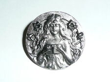 """Pretty Girl Reading Book Antique Reproduction Pewter Finish Metal Button 1"""" diam"""