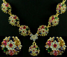 FASHION JEWELRY GEM 14K YELLOW GOLD RUBY SAPPHIRE lady NECKLACE + EARRINGS S511