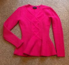 TED BAKER cerise Pink Peplum Sweater Jumper Top Size 2 10 Perfect Cond! 💗