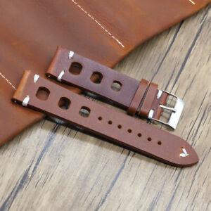 Mens Watch Strap Handmade Genuine Leather Vintage Wrist Band 18MM 20MM 22MM 24MM