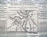 BATTLE OF HATCHER'S N Siege of Petersburg Virginia 1865 Civil War MAP Newspaper