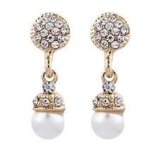 Orecchini a Clip-Gold Plated Drop orecchino di perla con cristalli-Bell G