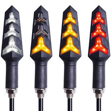 4x Motorcycle Flowing LED Turn Signals Indicator Blinker + DRL + Stop Tail Light