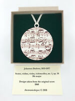 Music Manuscript Holiday Ornament, Brahms Music Christmas Tree Ornament, USAmade