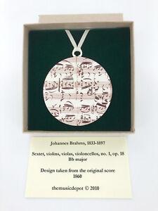 Music Manuscript Holiday Ornament, Brahms Music Christmas Tree Ornament, USAmade