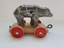 Primitive Pull Toy Zinc Bear On Wheels, Made in Germany, 1950's