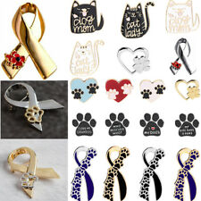 Animals Cat Dog Paws Ribbon Love Heart Brooch Badge Pins Charm Family Friends