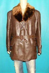 canadienne vintage OFFICER'S RAINCOAT cuir marron avec doublure et col taille XL